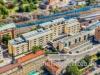 flygfoto av Körsbärsvägen i Stockholm nära KTH
