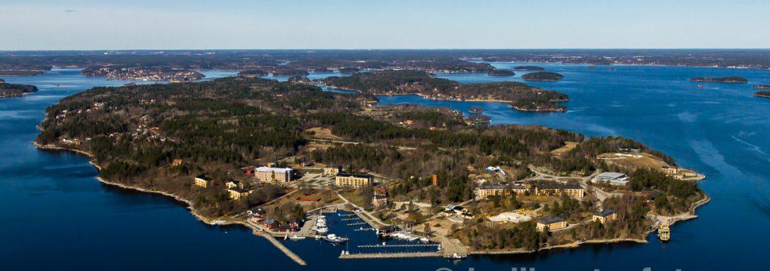 Flygfoto över KA1 på Rindö från drönare