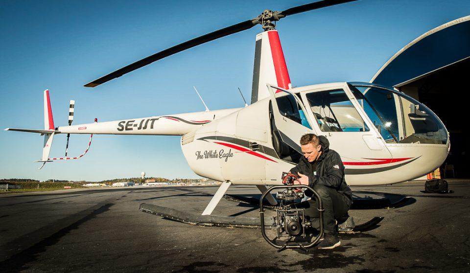 Flygfot från helikopter