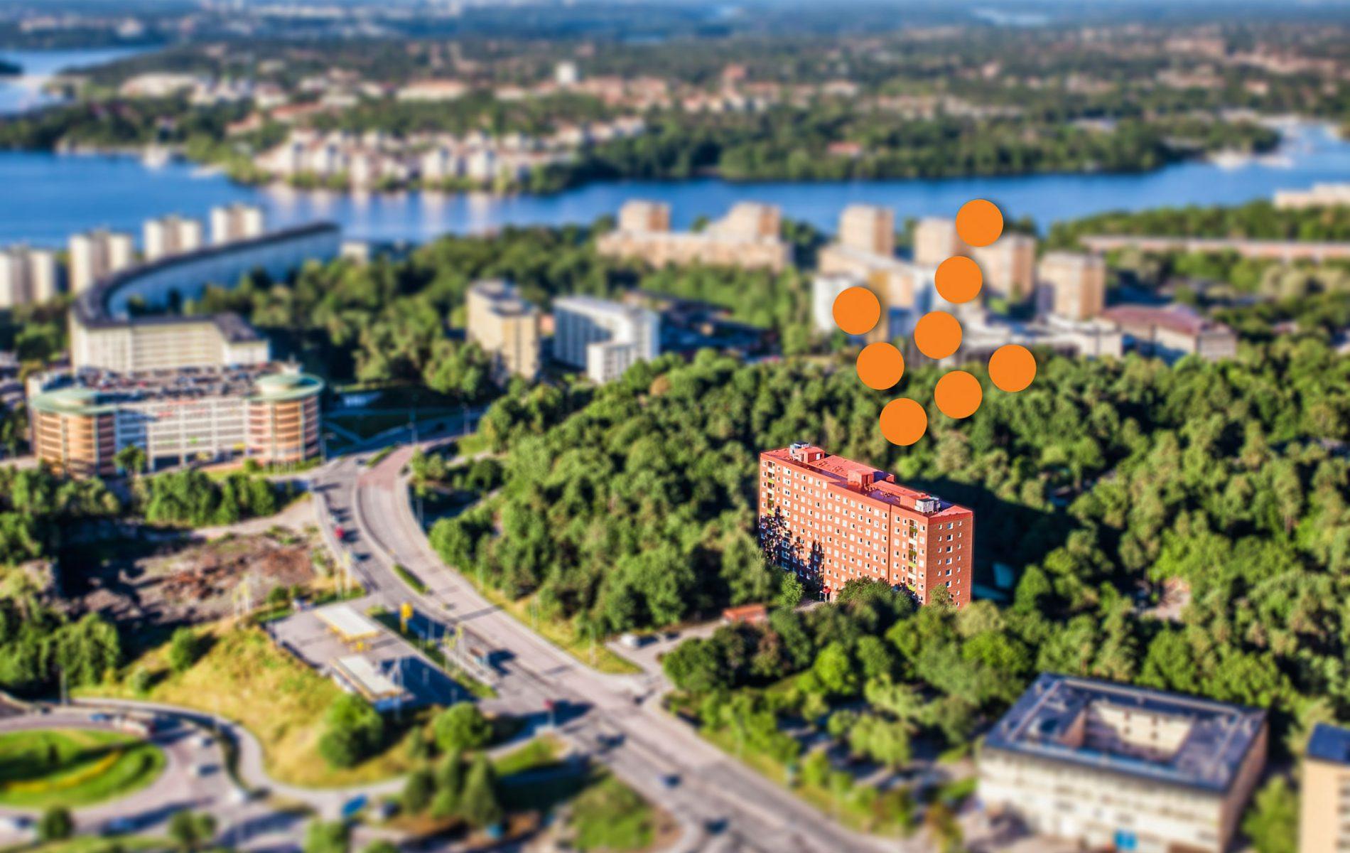 Flygbild av fastighet i Solna