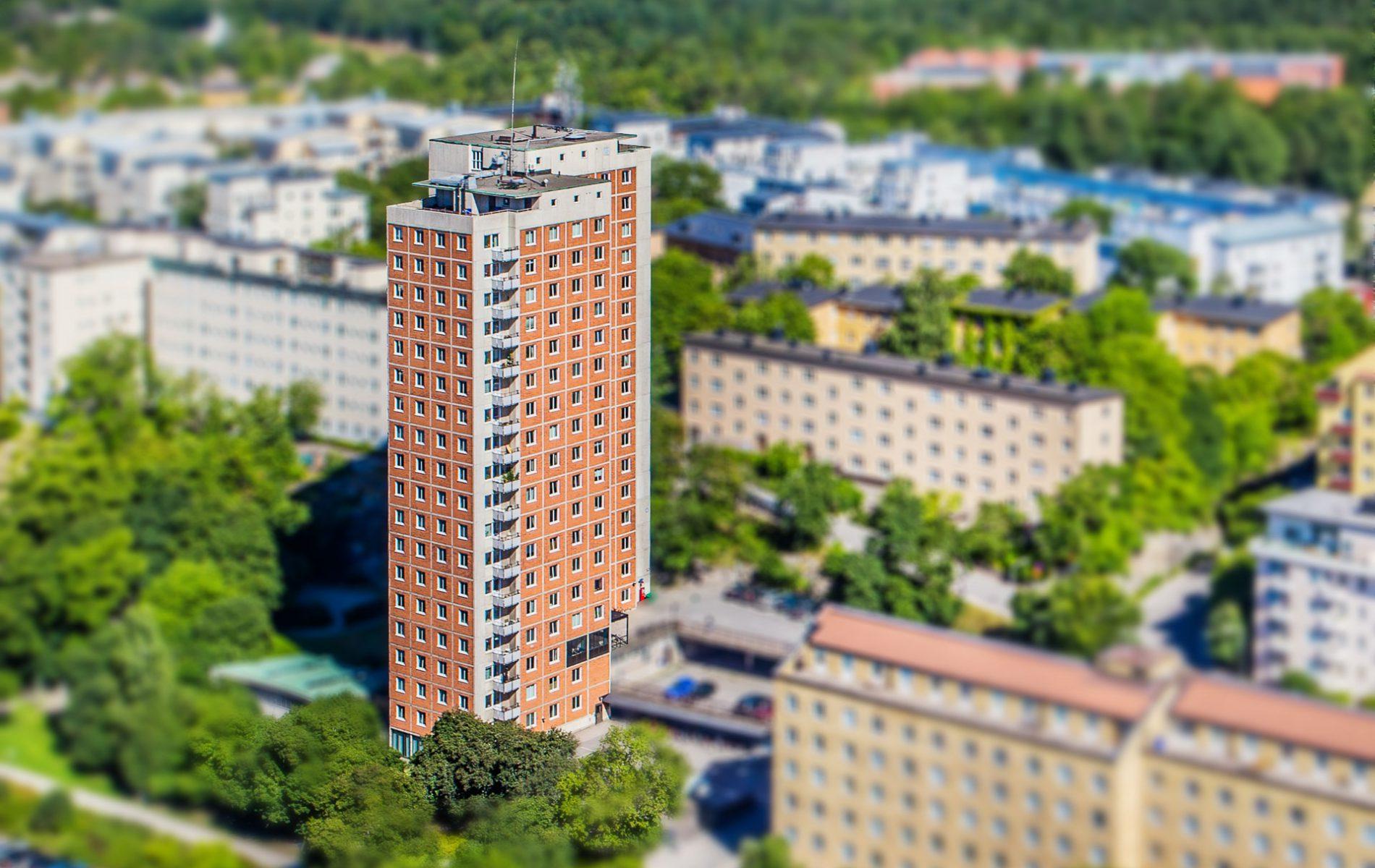 flygfoto av studenthuset Nyponet på Östermalm