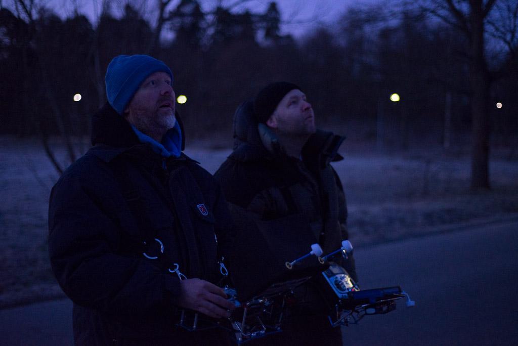 Flygfotografer i Stockholm på natten