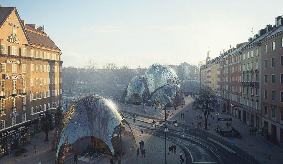 Drönarfoto av S:t Eriksplan i Stockholm med infogad 3D-visualisering av mir.no för Utopia arkitekter