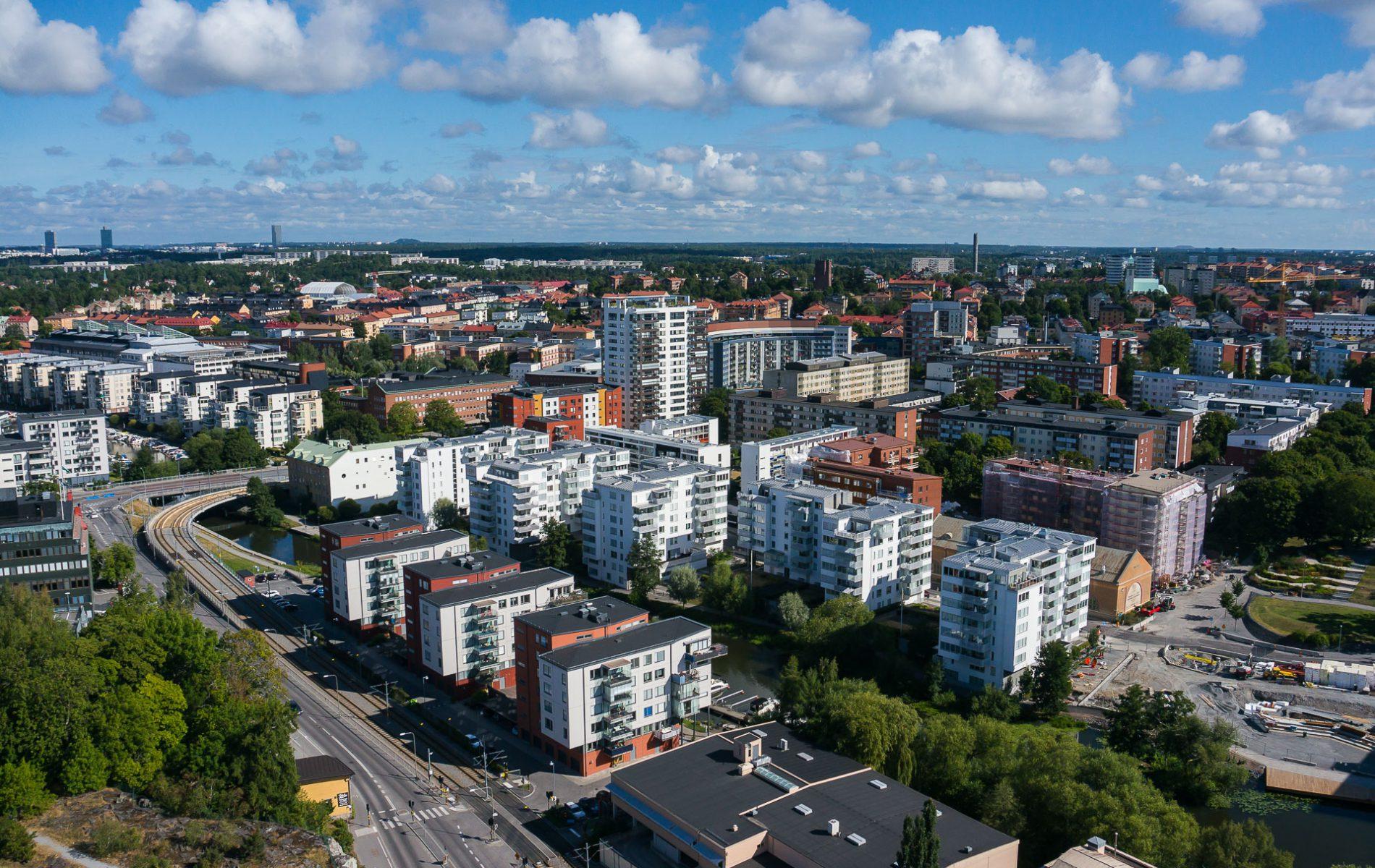 Drönarfoto av bostadsprojekt i Sundbyberg