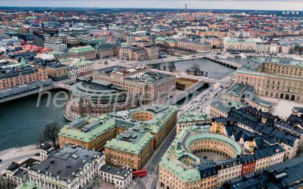 Drönarfoto av Riksdagshuset, ledamotshuset och kvarteret Cephalus.